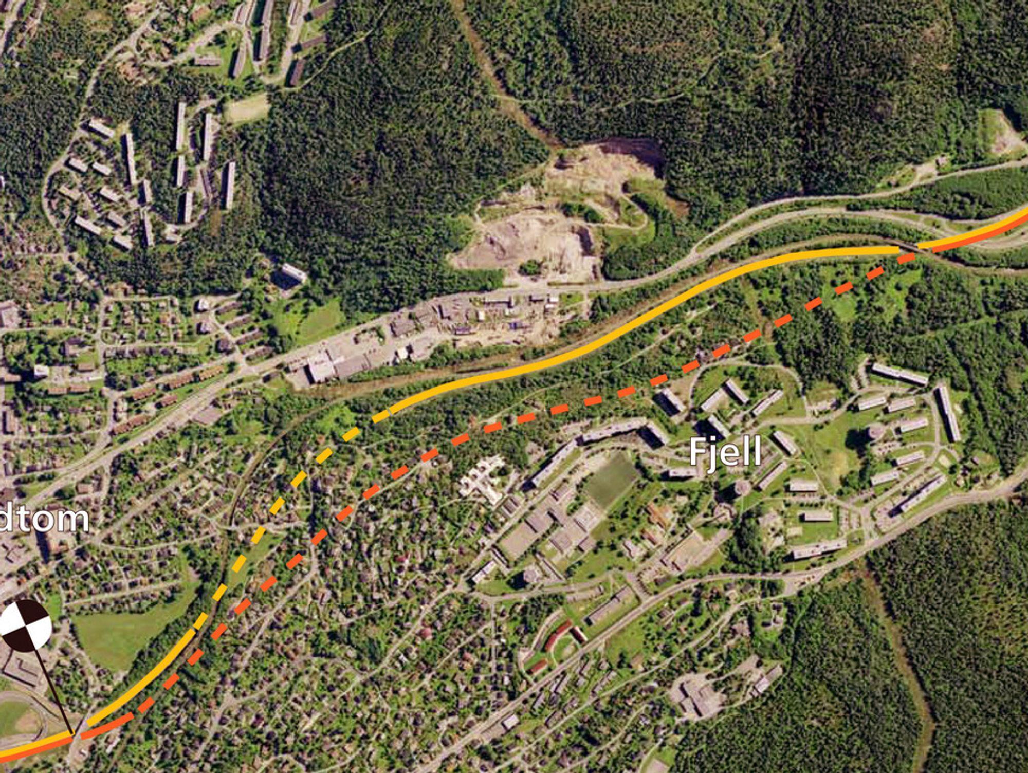 Den gule linjen markerer nåværende E 18 mellom Frydenhaug og Baserud. Den skal stenges for oppgradering nå den nye sørgående kjørebanen (markert med oransj) åpnes for trafikk til sommeren. (Ill.: Statens vegvesen)