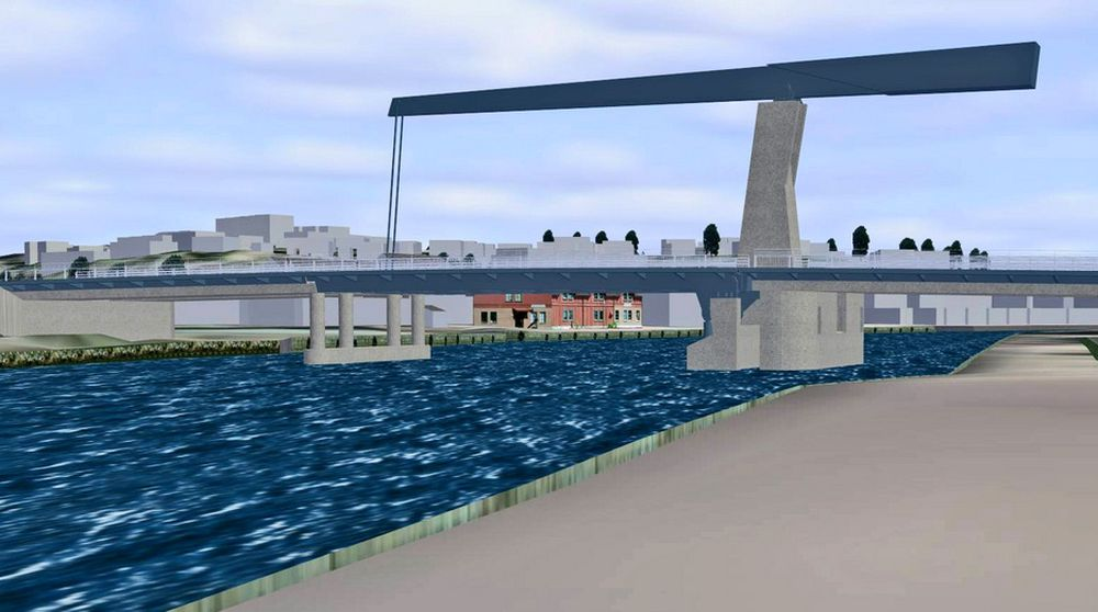 Etter at DBO-konkurransen ble avlyst, er det klart at Kråkerøybrua vil se omtrent slik ut. Forprosjektet er laget av Aas-Jakobsen, illustrasjonen av ViaNova.