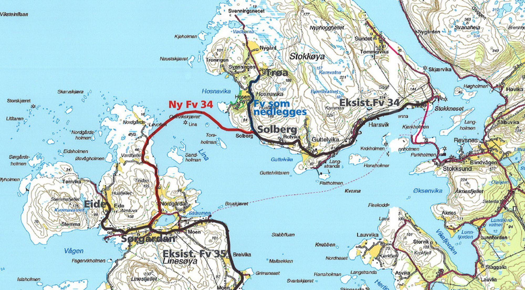 Den røde linjen markerer fyllingene og brua mellom de to øyene. Etter den nye forsinkelsen er det klart at ferga mellom Linesøya og fastlandet ikke får avløsning før mot slutten av året. (Ill.: Statens vegvesen)