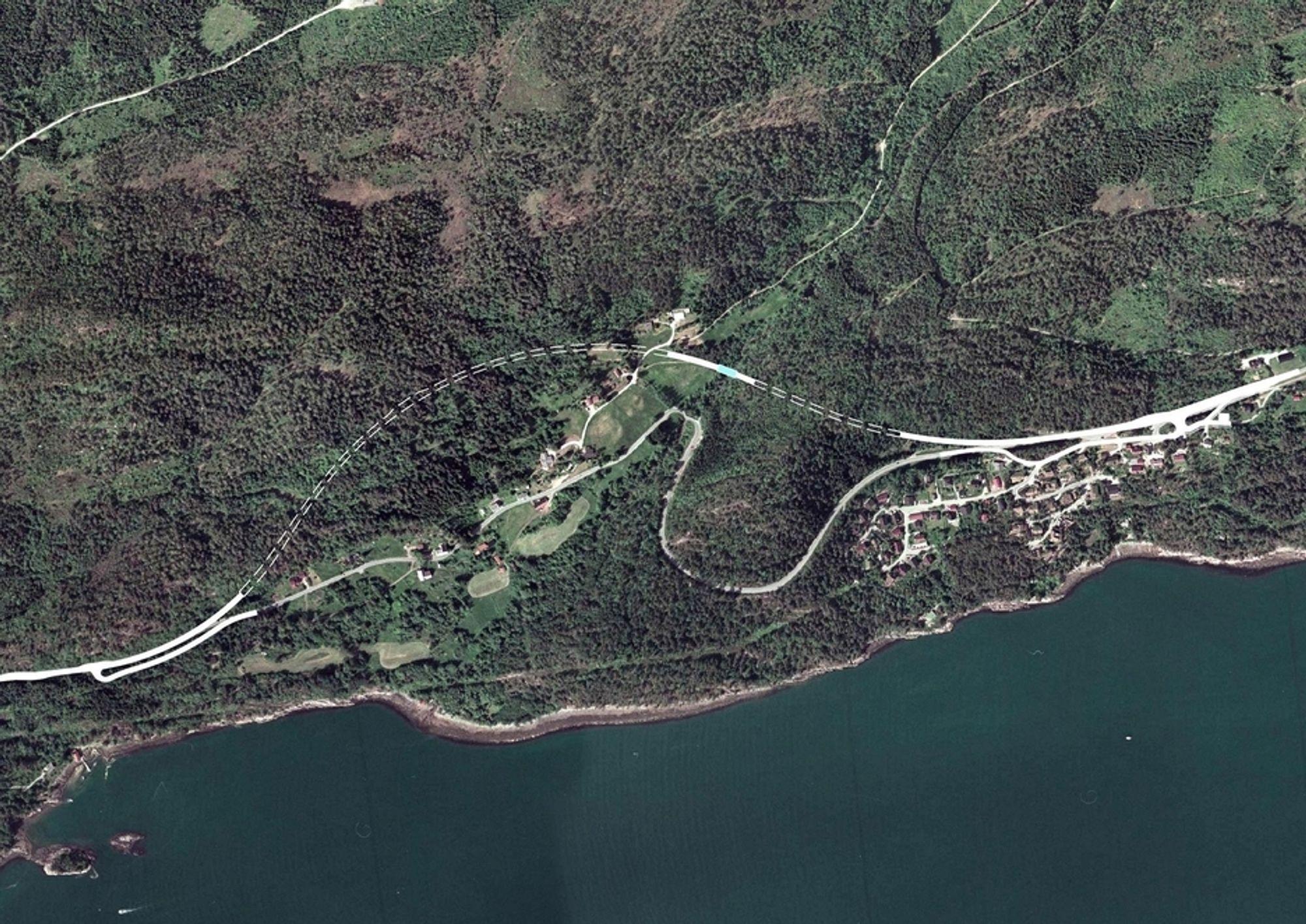 Region Midt ber om pris på driving av de to tunnelene som er markert med stiplet linje. Innen 12. mars må entreprenørene bestemme seg for hvor mye de skal ha for jobben. (Ill.: Statens vegvesen)