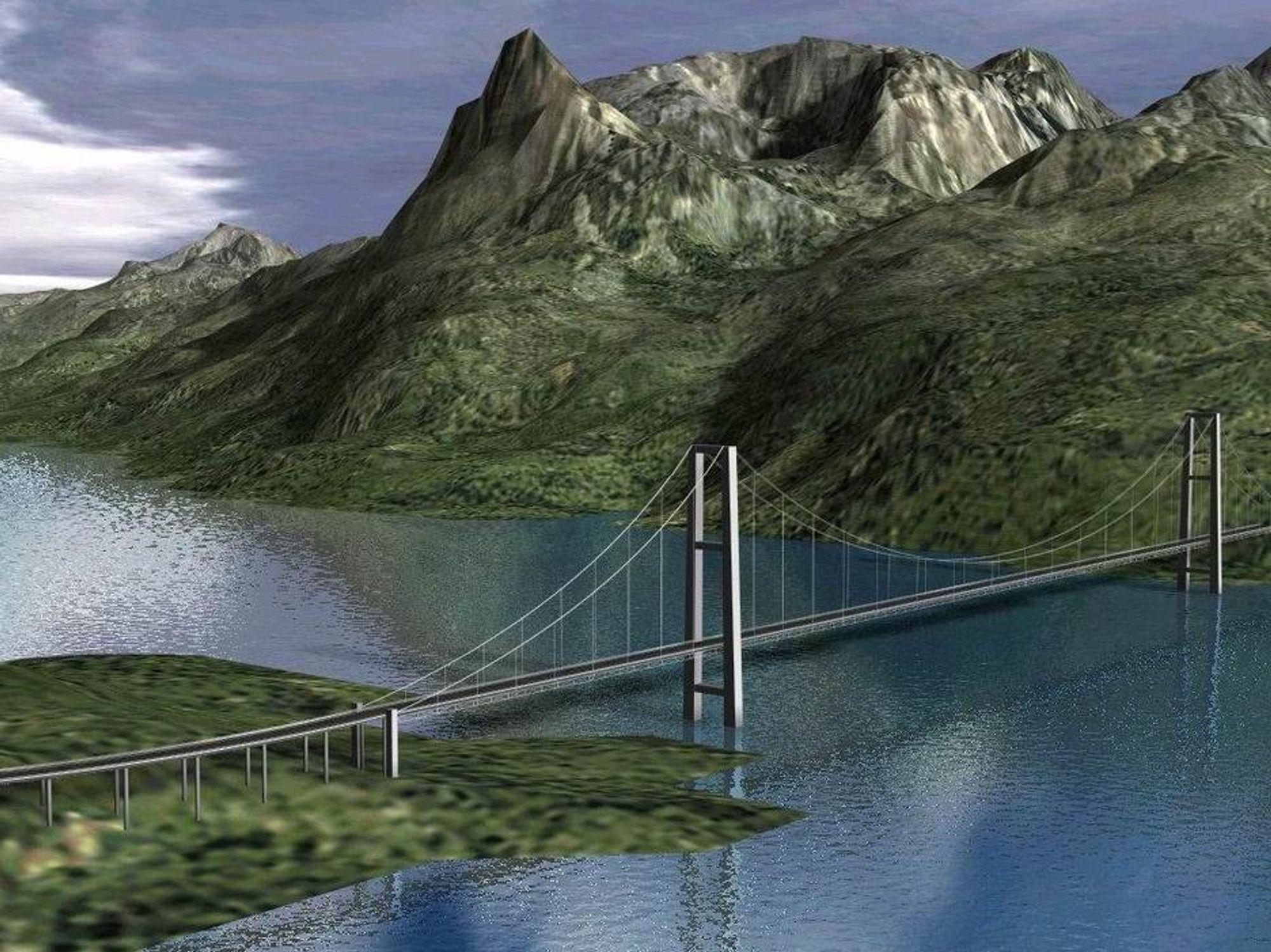 Slik vil en hengebru bli se ved Øyjord på E6 mellom Narvik - Bjerkvik.