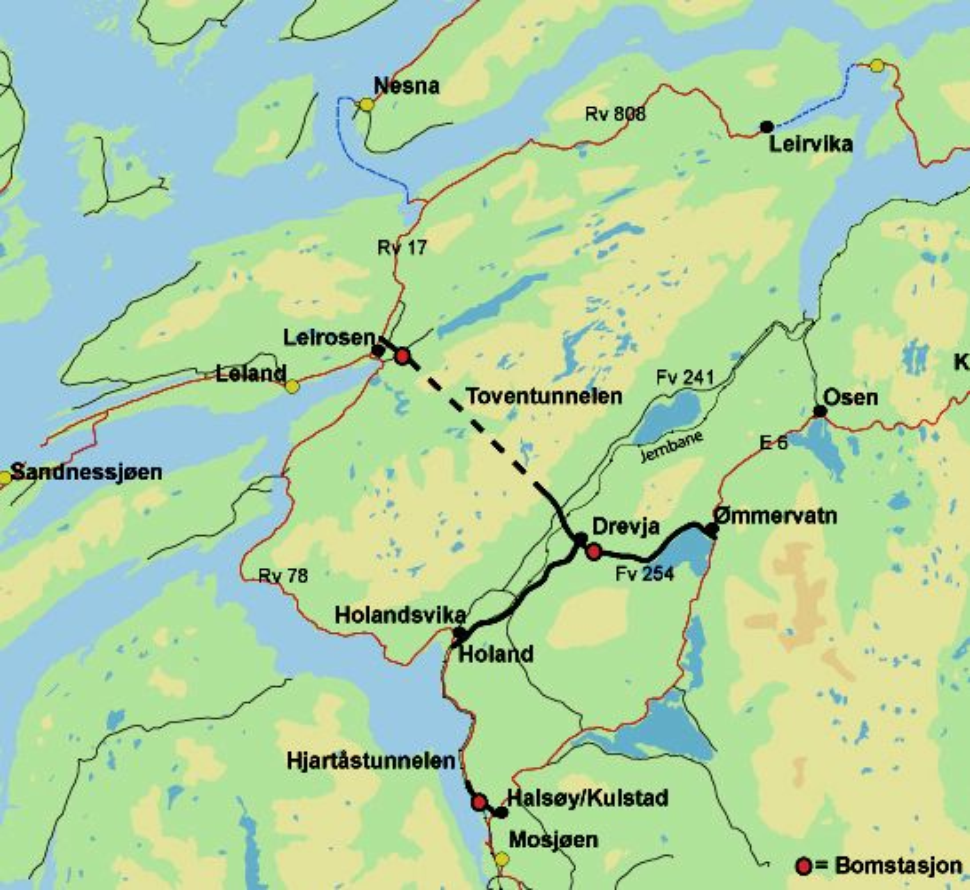 Toventunnelen vil erstatte den håpløst dårlige riksveg 78 langs Vefsnfjorden når den blir ferdig i 2014.
