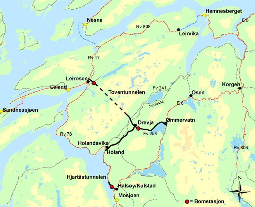 Toventunnelen erstatter den håpløst dårlige riksveg 78 langs Vefsnfjorden når den blir ferdig i 2014.