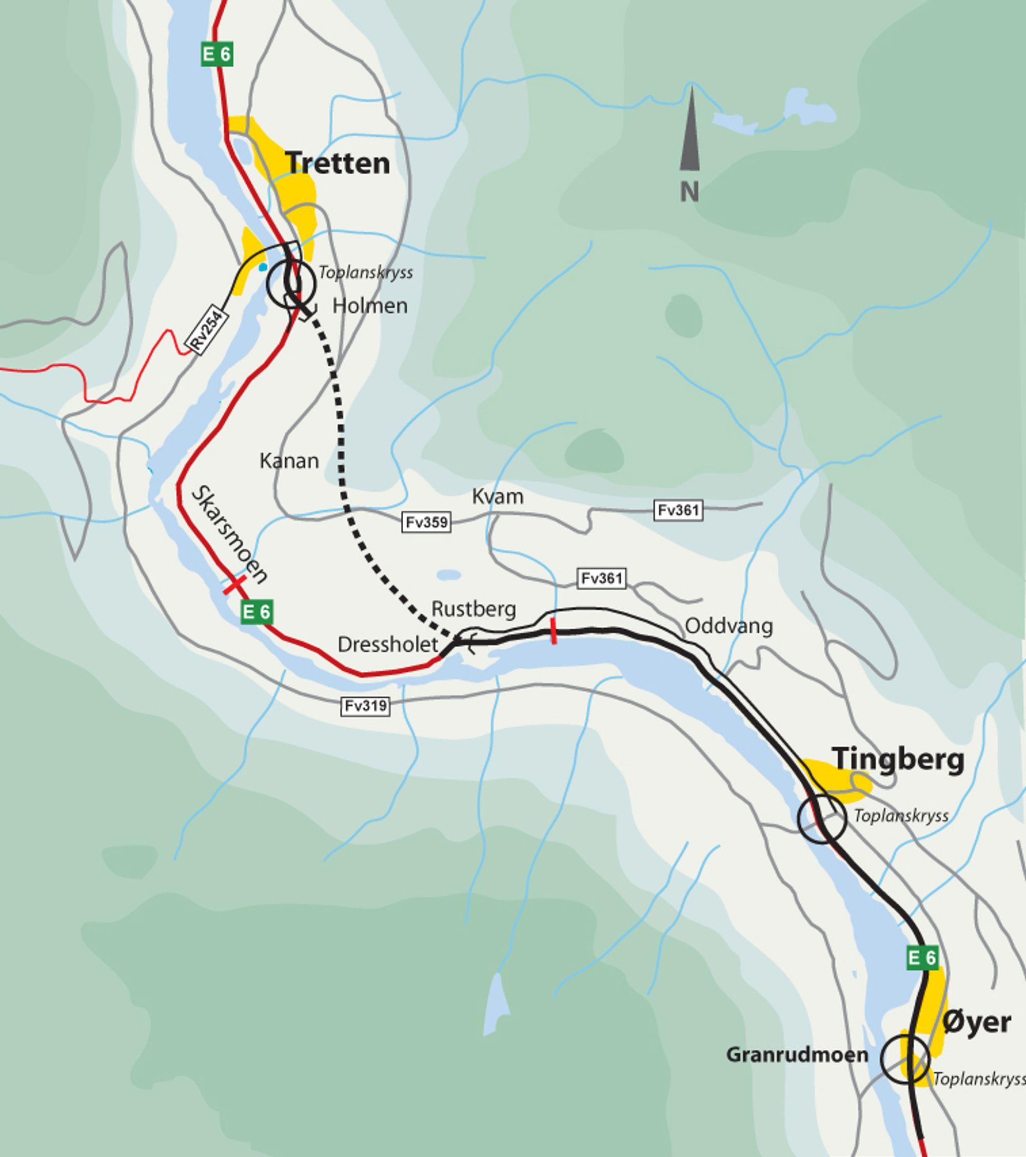 E 6 gjennom Gudbrandsdalen blir to kilometer kortere enn i dag når den 3,85 km lange Øyertunnelen blir åpnet senest 1. desmber 2012.