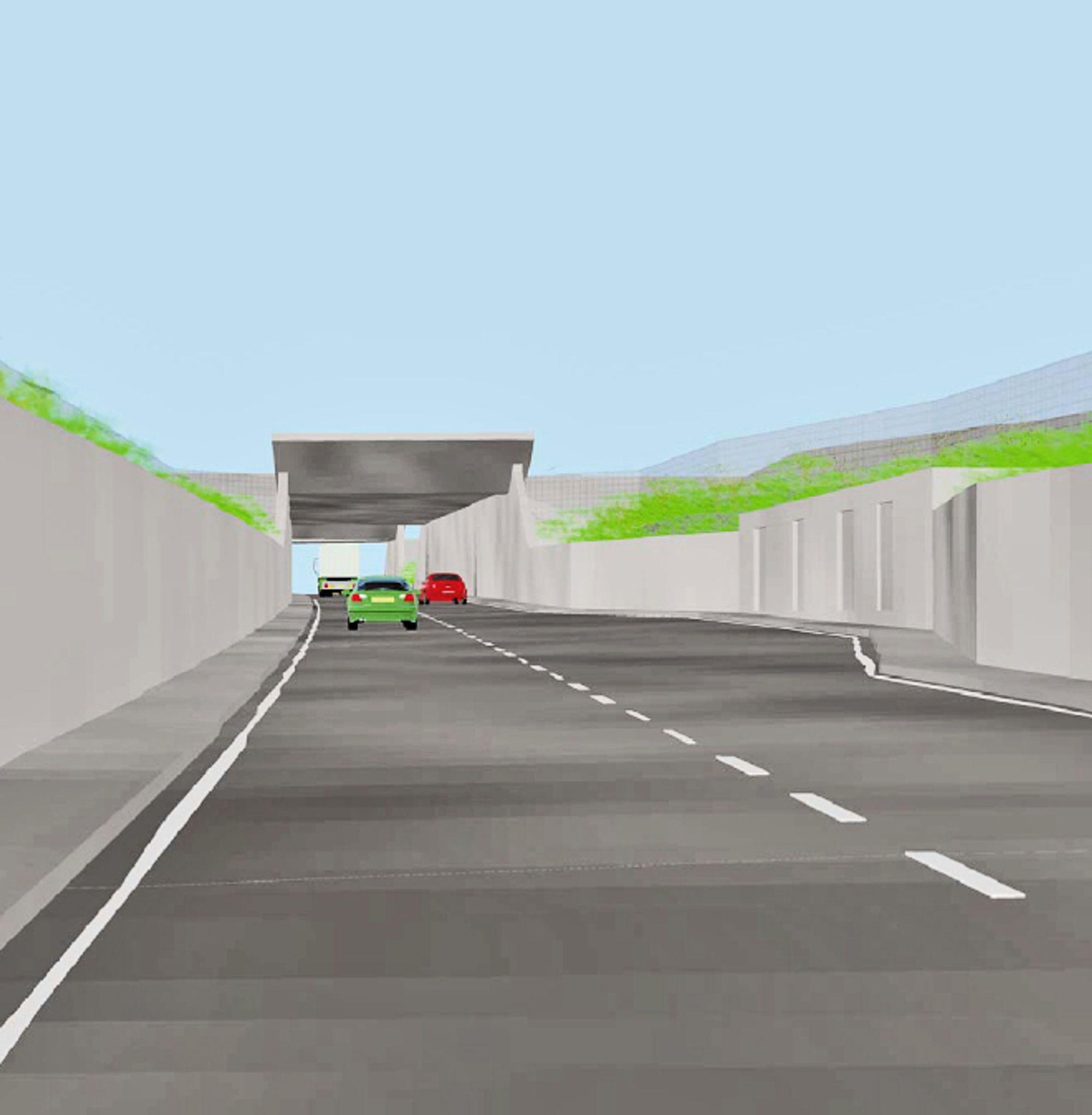 Illustrasjonen viser betongtrauet slik det vil se ut mellom rullebanen og taksebanen. Kulverten under taksebanen ses i bakgrunnen.