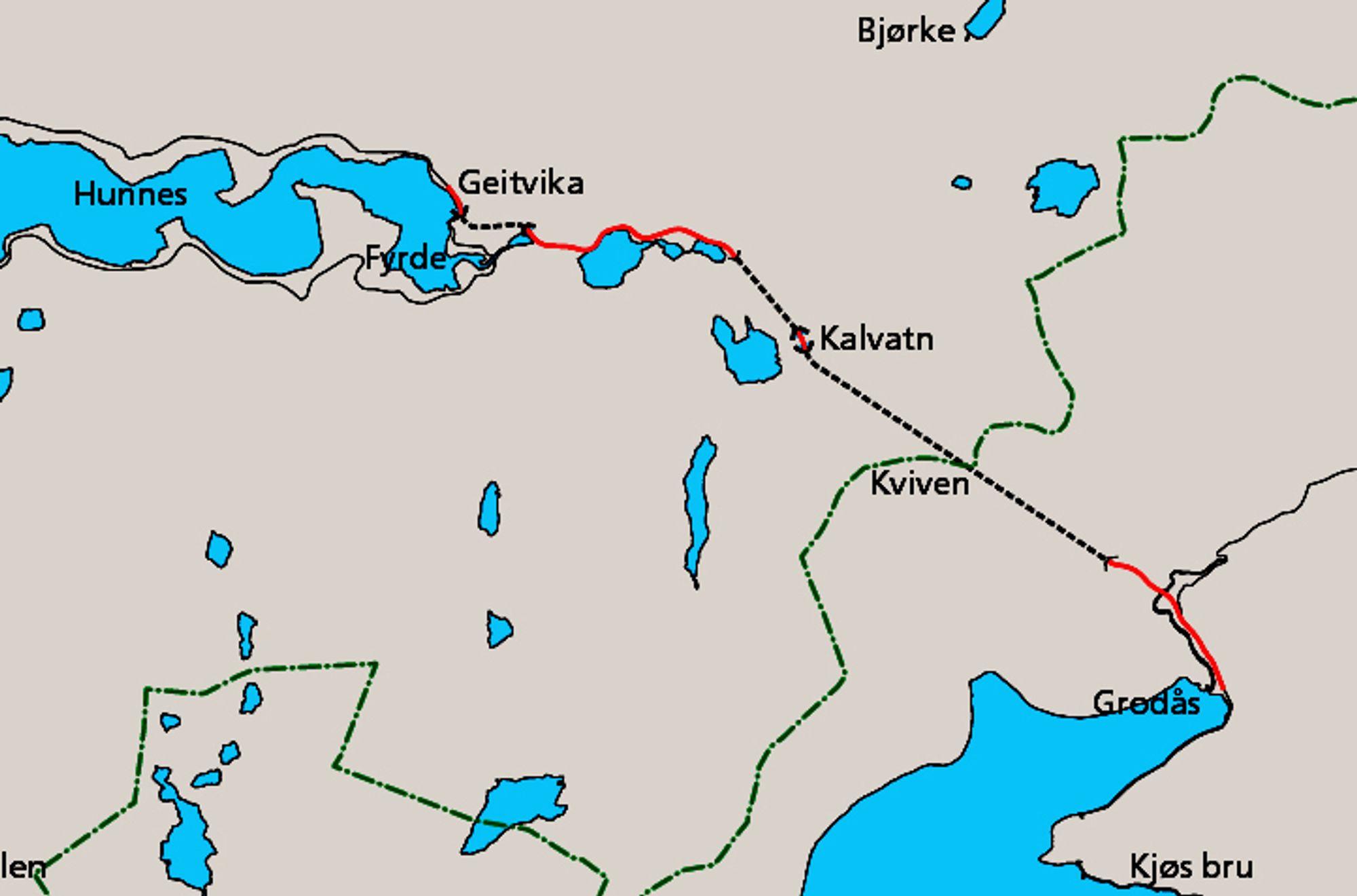 Den 7,3 km lange strekningen som nylig har vært ute på anbud, går mellom Geitvika og Kalvatn vest for Kvivstunnelen.