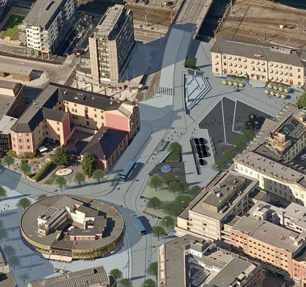 Strømsø torg er det viktigste møteplassen i Drammen sør for Drammenselva. Slik vil torget se ut når begge etappene av ombyggingen er ferdige sommeren 2012.