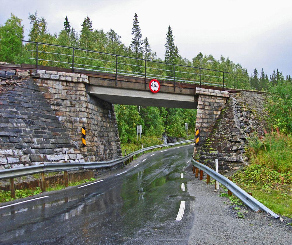 Denne trange undergangen under Nordlandsbanen ved Skogtun i Grane kommune blir fjernet fra E 6 innen 10.10.2010. Som skiltet viser, er den frie høyden 4 meter. Bredden er bare 4,5 meter.