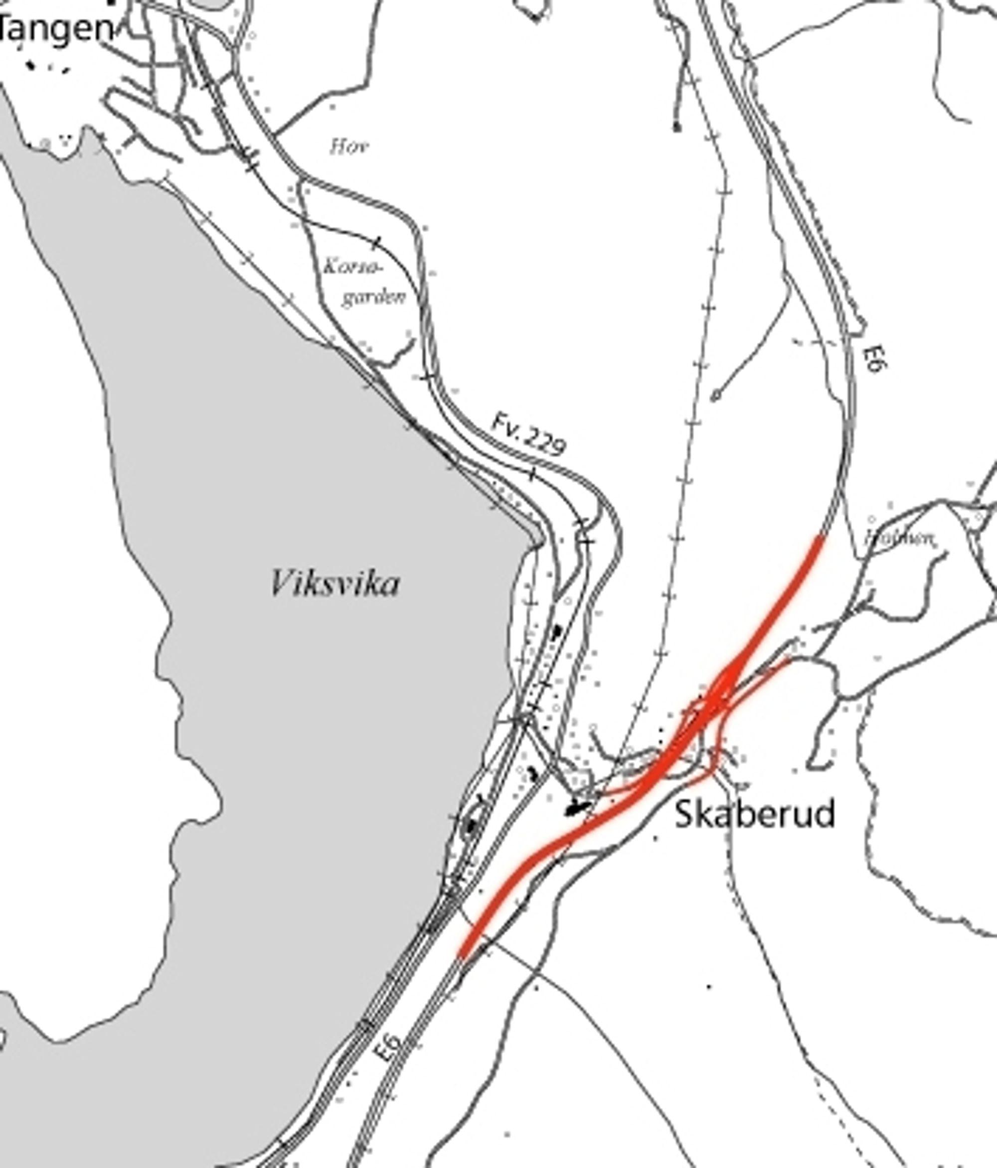 Den røde linjen markerer strekningen som skal utvides til fire felt. Interesserte entreprenører må regne ferdig innen 7. september.