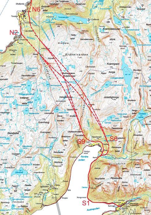 Kartet viser flere aktuelle alternativer for Jondalstunnelen. Det som ble valgt, går mellom S 6 og N 2. Tunnelen blir 9,8 km lang, Norges lengste fylkesvegtunnel.
