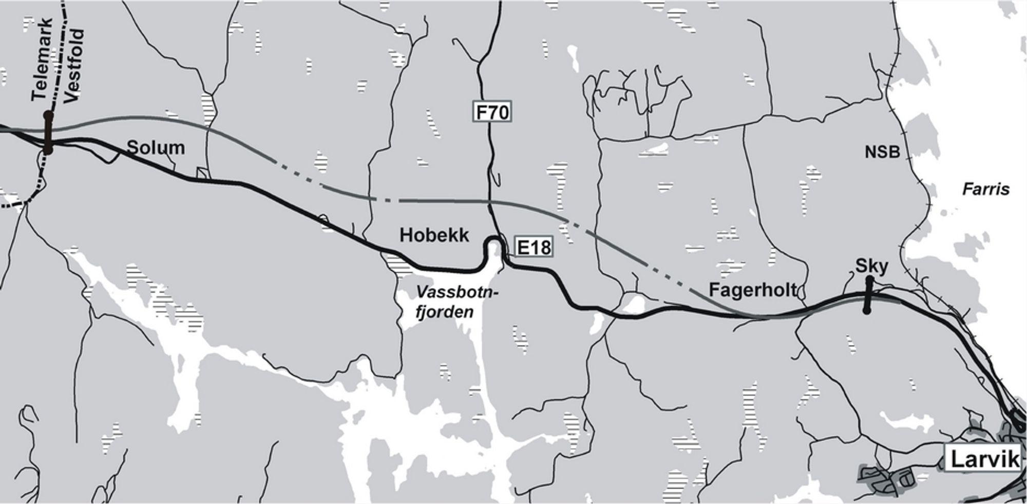 Det meste av E 18 mellom Sky og Langangen ligger i Vestfold fylke. En liten strekning lengst vest ligger i Telemark. (Ill.: Statens vegvesen)