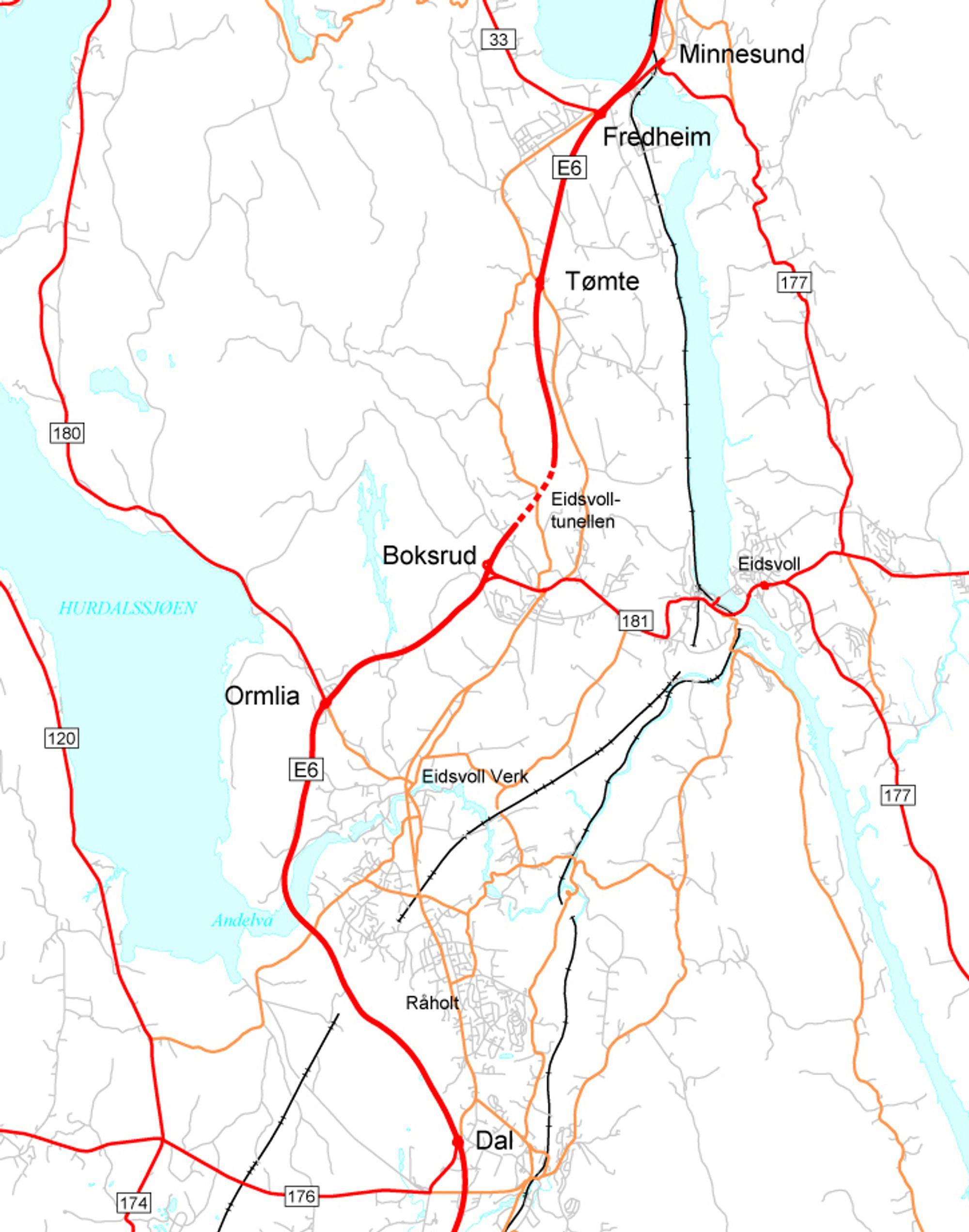De totale omkostningene for utvidelse av strekningen Dal-Minnesund til fire felt er beregnet til 2 170 millioner 2009-kroner. Høsten 2011 skal det meste være gjort.