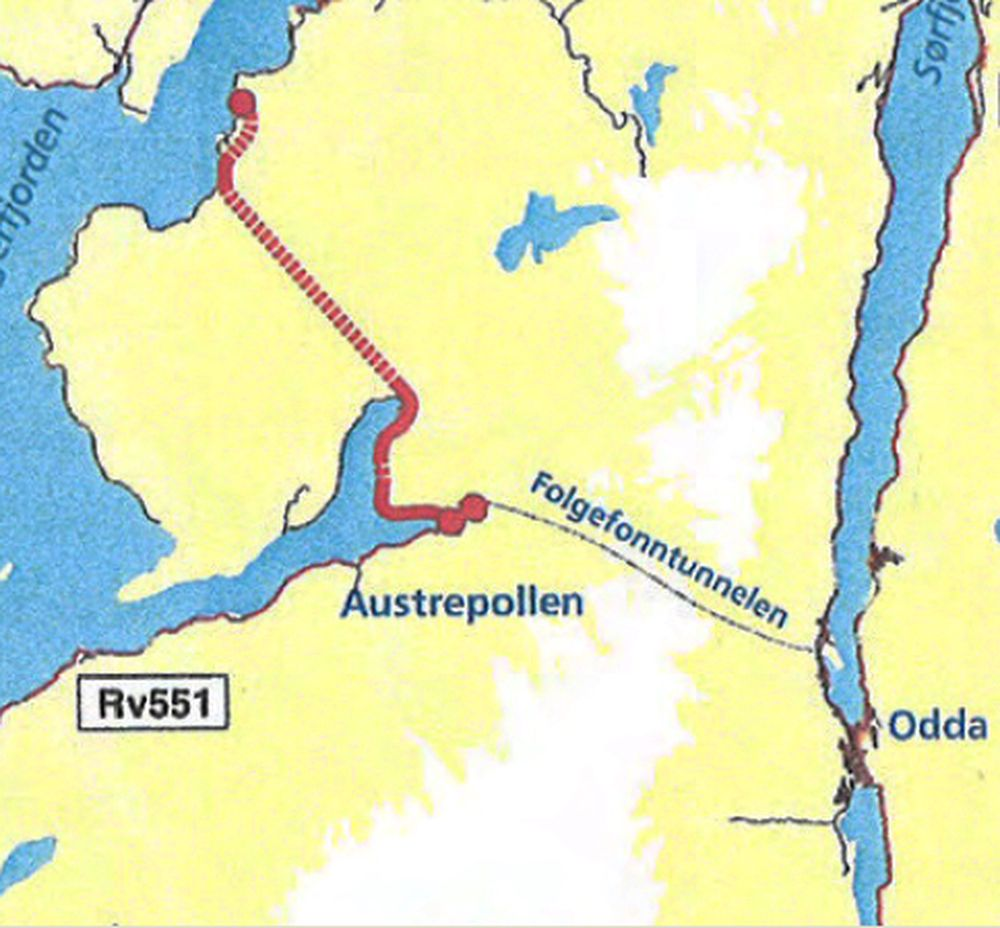 Slik blir traséen for Jondalstunenlen hvis kombinasjon 1 blir valgt. (Ill: Statens vegvesen)