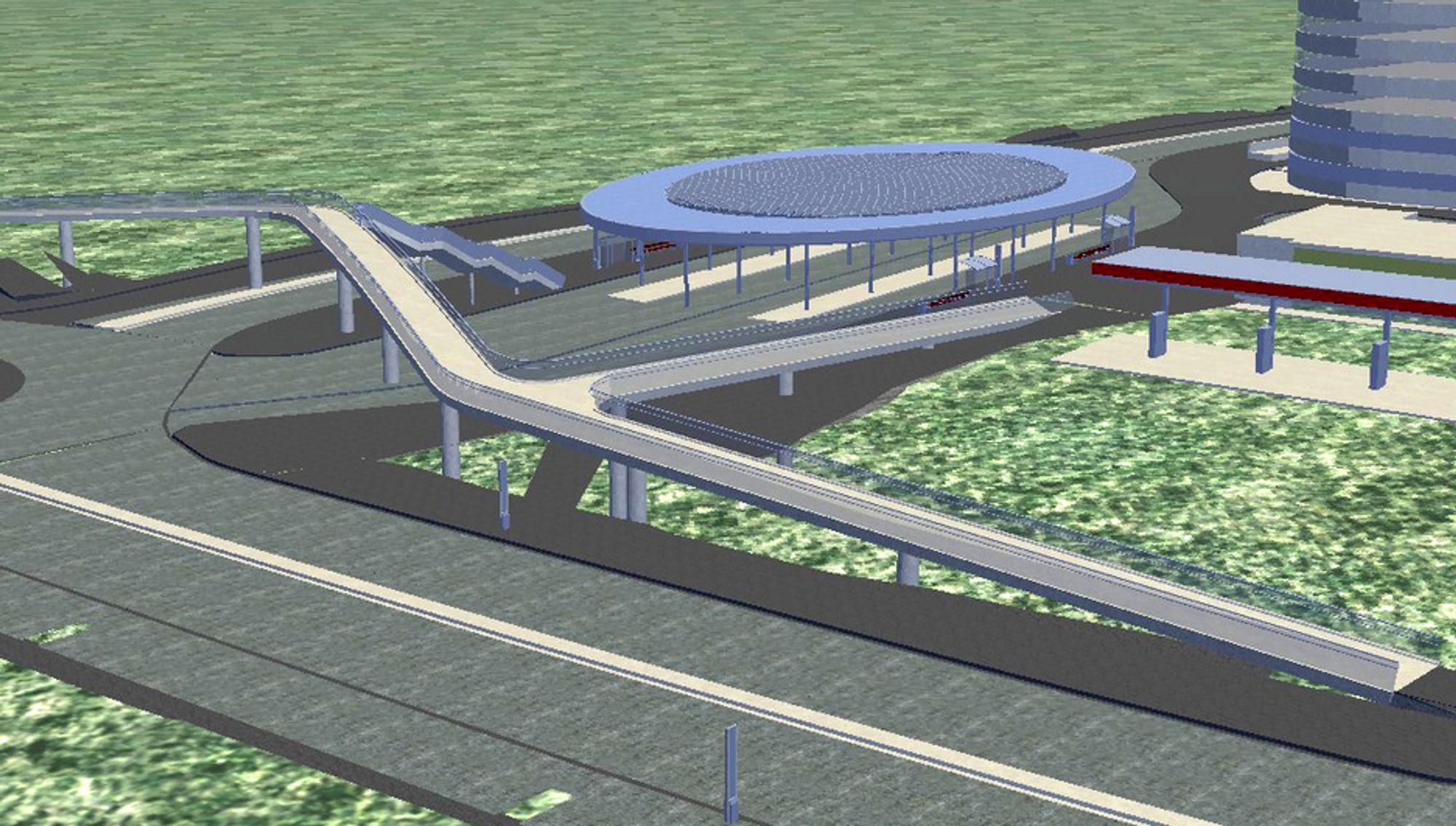 Aas-Jakobsen og Artikektskap har stått for utformingen av gangbrua i forgrunnen og det ovale taket over bussterminalen i bakgrunnen.