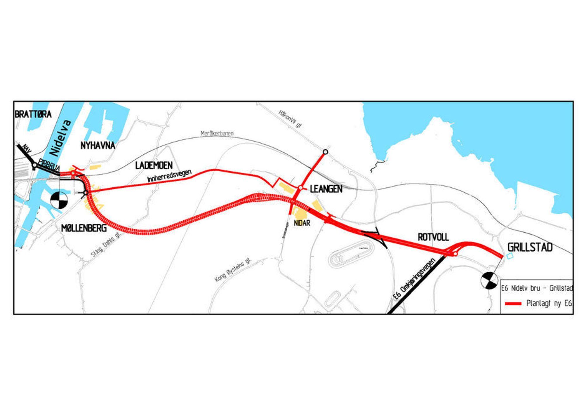 Den kraftige røde linjen viser E 6-parsellen Nidelv bru-Grillstad. Strindheimtunnelen utgjør den vestre halvparten av denne parsellen. (ill.: Statens vegvesen)