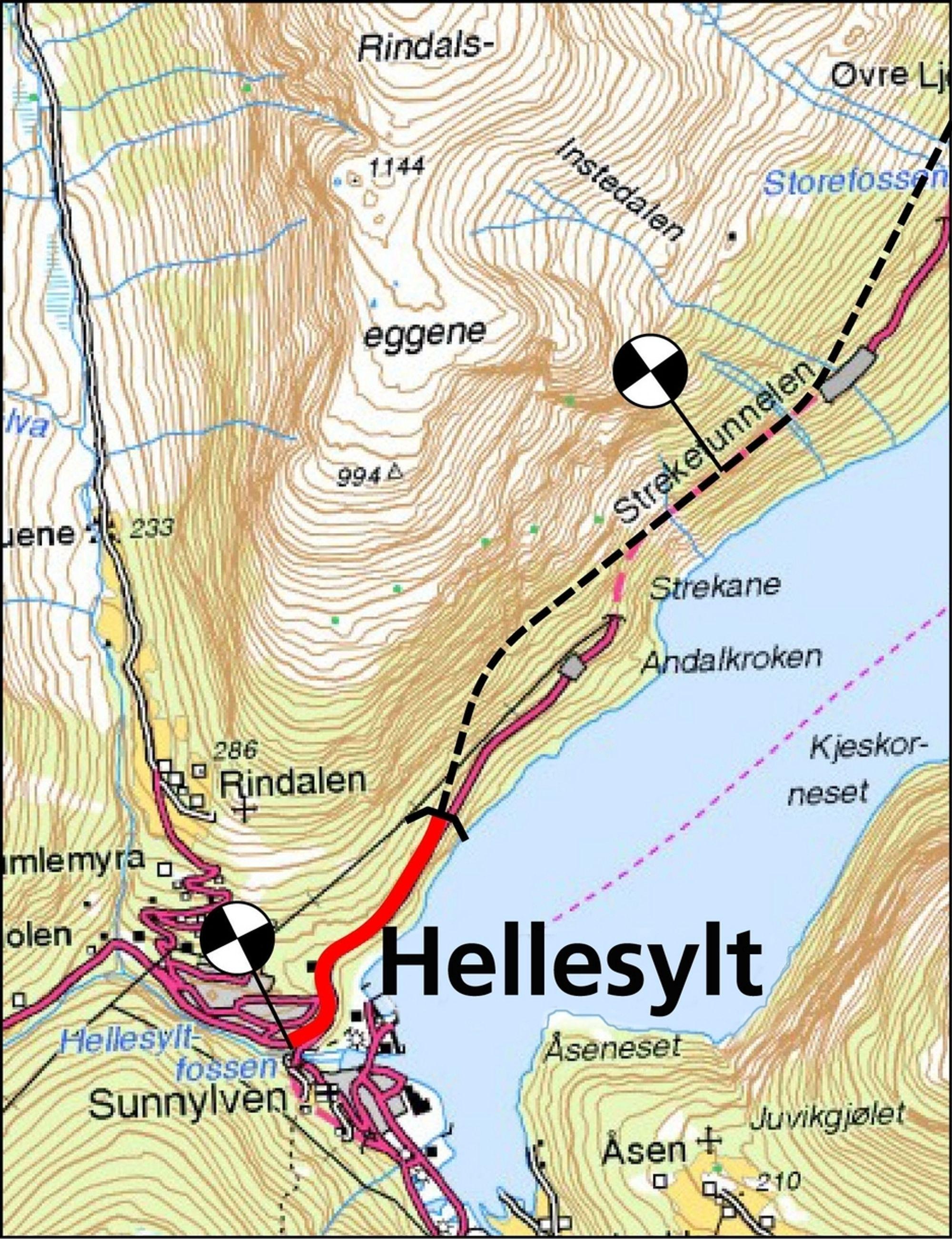 I dag er Streketunnelen bare 1 289 meter lang. Når forlengelsene er fullført har den fått en lengde på 3,8 km. (Ill: Statens vegvesen)
