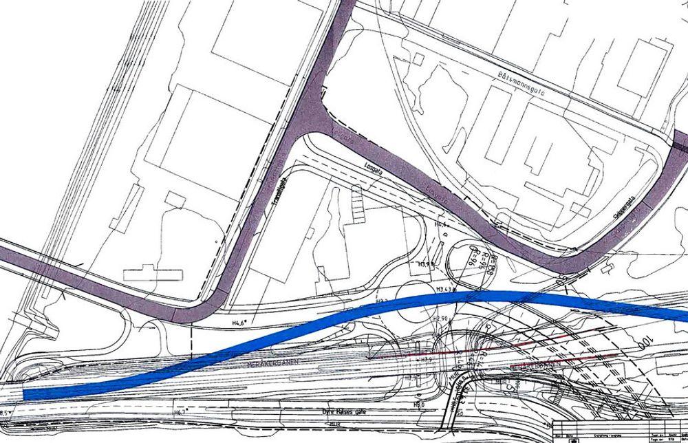 Den lilla linjen viser den midlertidige vegen som skal ligge i fire år. Den blå linjen er jernbanen som skal gå i bue i halvannet år. (Ill: Statens vegvesen)