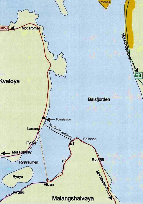 Fergesambandet mellom Larseng og Vikran blir erstattet av en undersjøisk tunnel høsten 2011. Mye rart må skje om ikke Mesta skal drive tunnelen. (Ill.: Statens vegvesen)