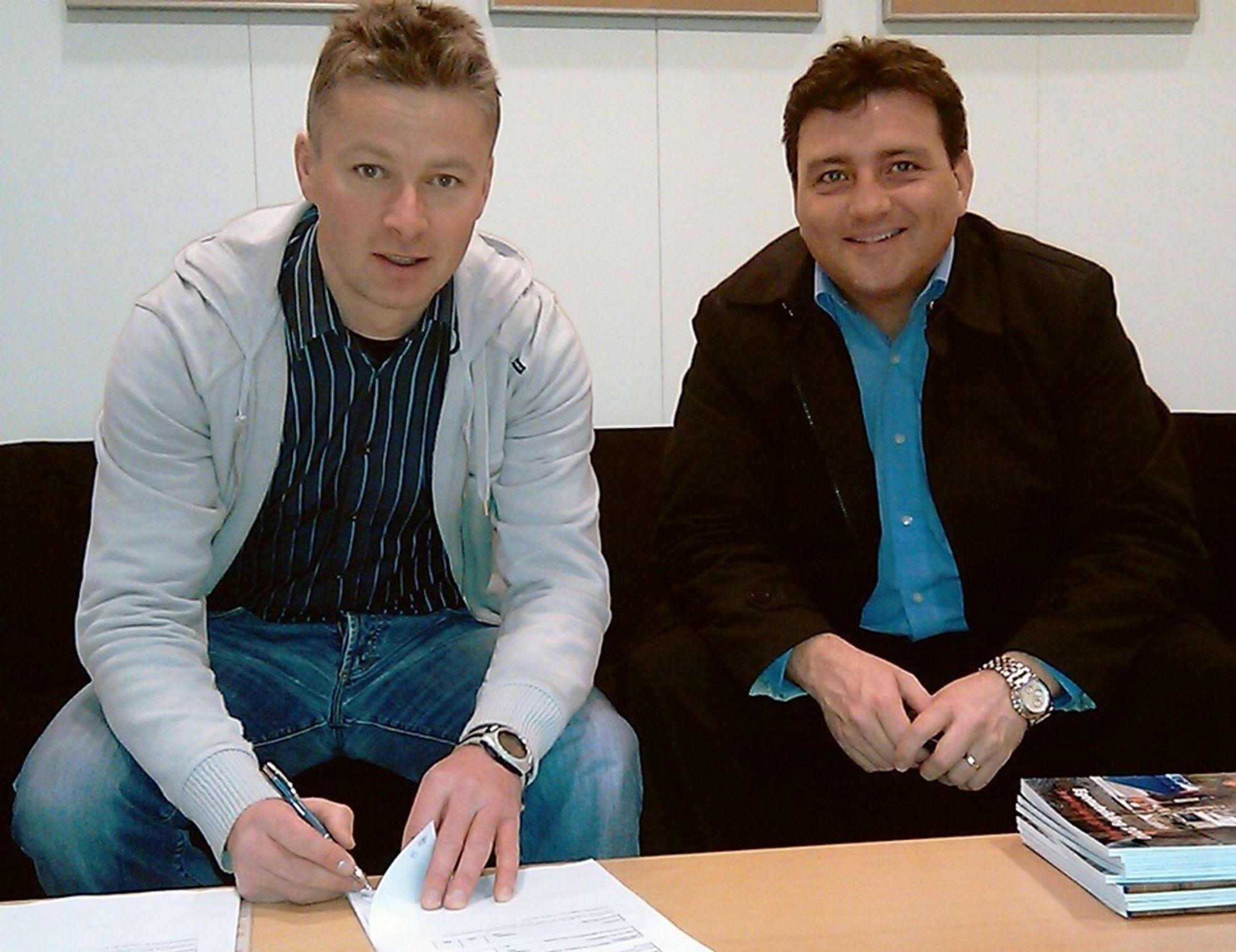 Ole Jacob Næss (t.v.) og Arne Hammer er glade for å kunne fortsette utviklingen av samarbeidet mellom Veidekke og Bautas.