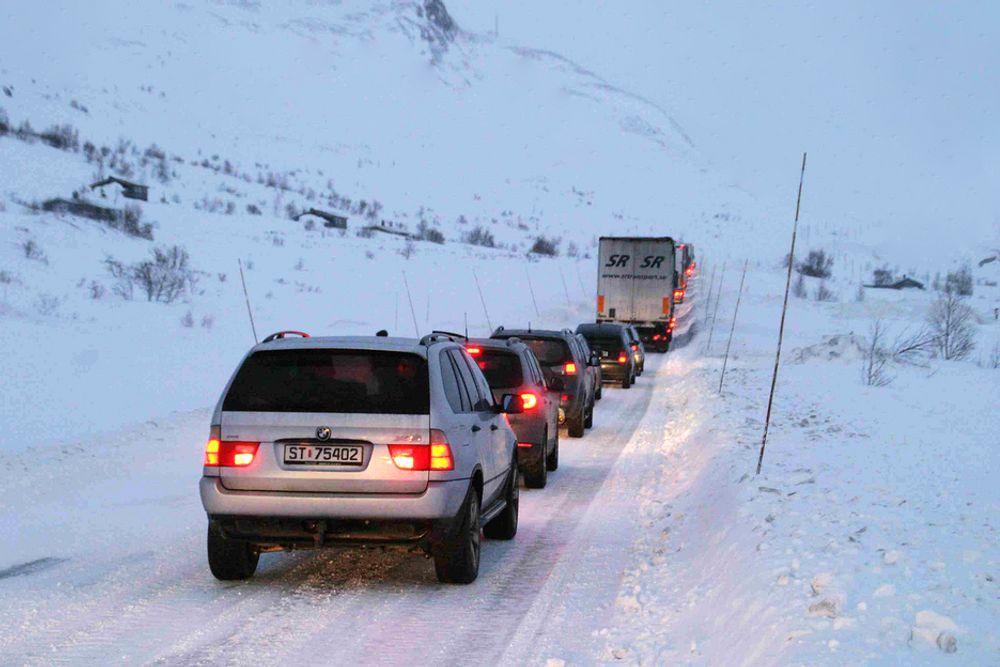 Kolonnekjøring Hemsedalsfjellet riksveg 52