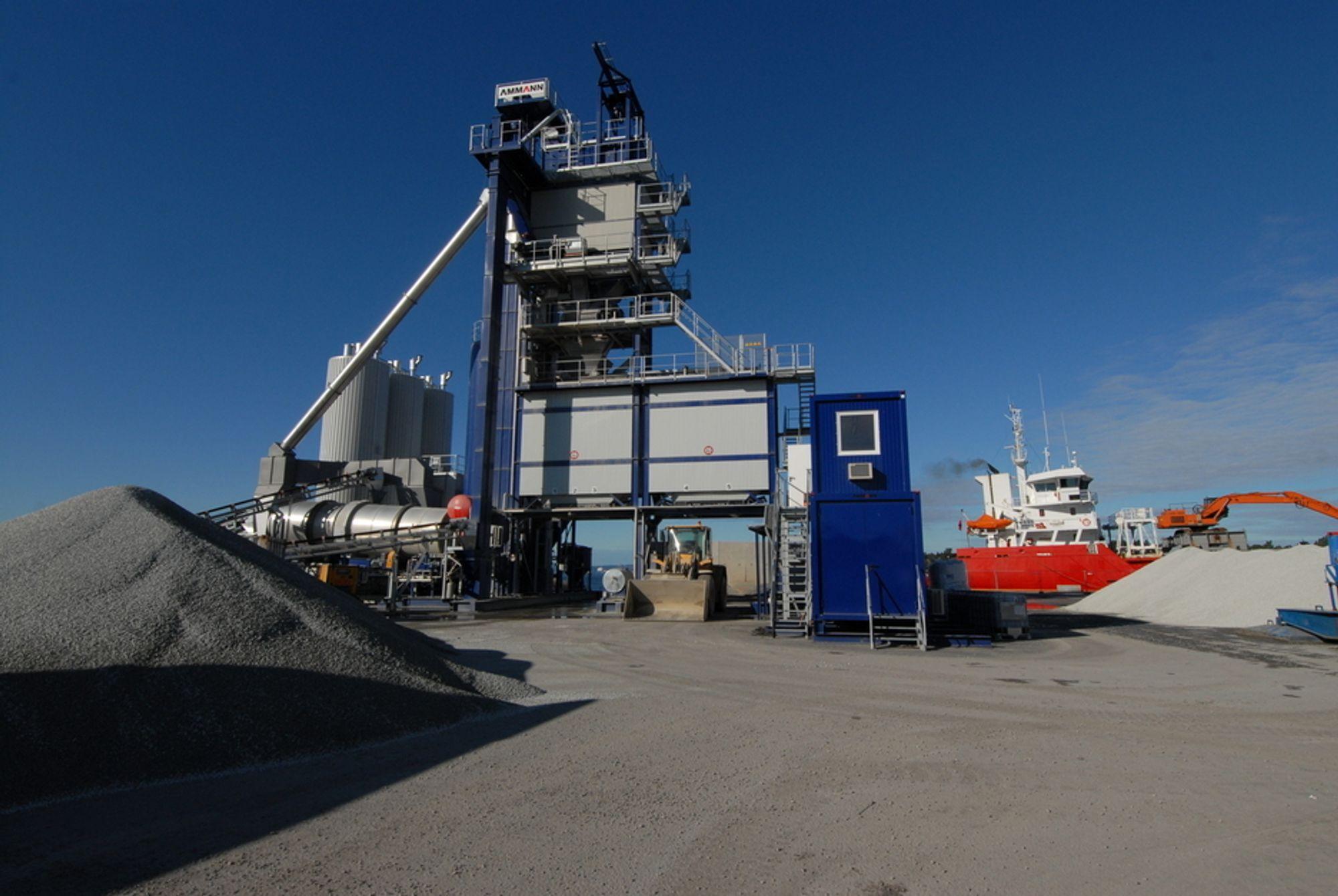Skanskas nye produksjonsanlegg for asfalt på Filipstadkaia i Oslo.