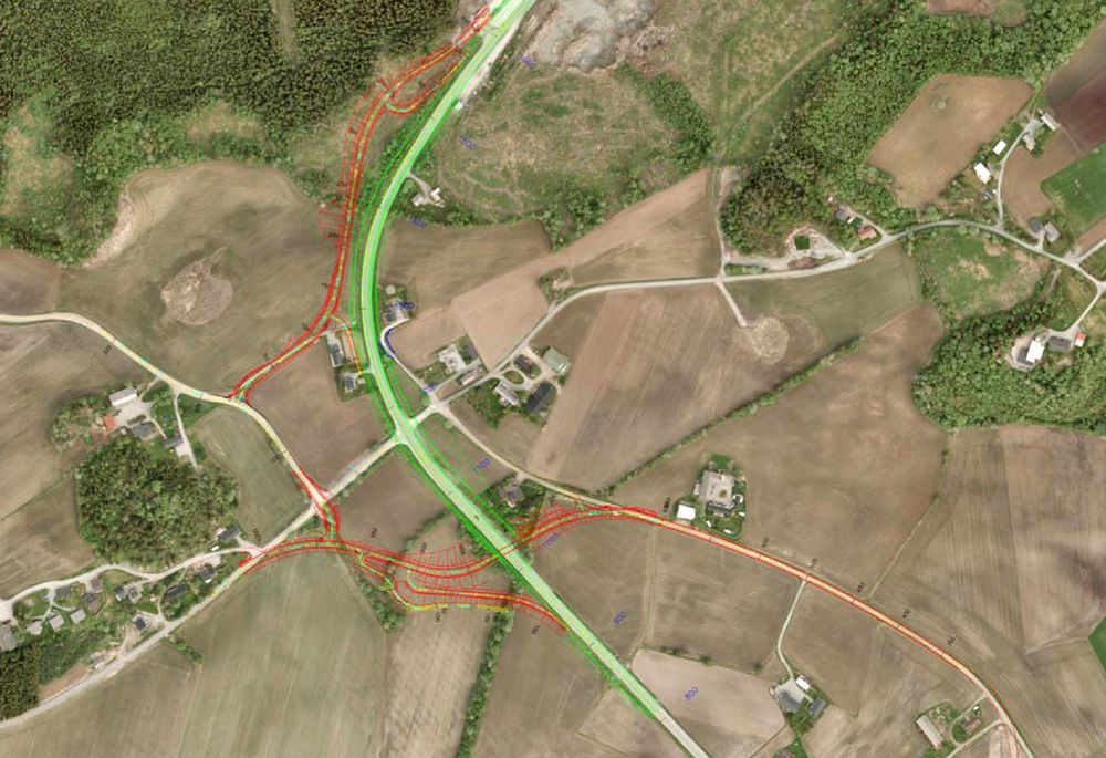Vegen som er markert med grønt er E 6-strekningen som blir utbedret. De røde vegene er de nye lokalvegene. Ill.: Statens vegvesen