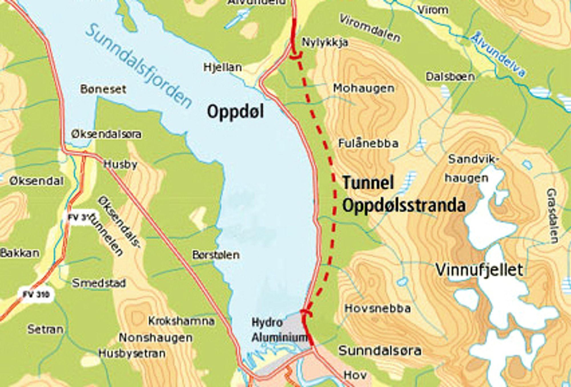 En 7,5 km lang tunnel skal eliminere den svært rasfarlige strekningen på riksveg 70 langs Oppdølstranda en gang for alle. (Ill.: Statens vegvesen)