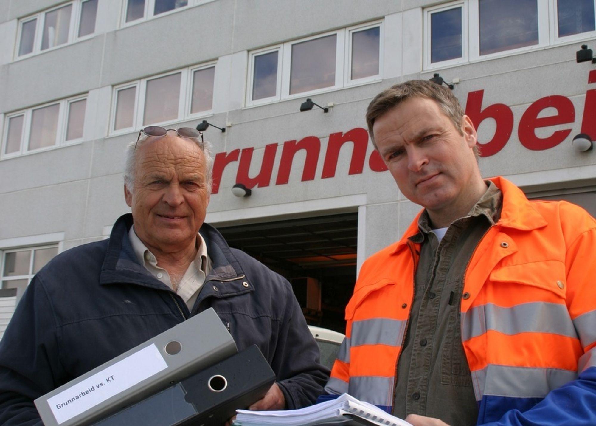 Per Kristian Alstad (tv.) blir medeier med 25 prosent i det nye Teknobygg Anlegg AS. Her sammen med sønnen John Peter Alstad.