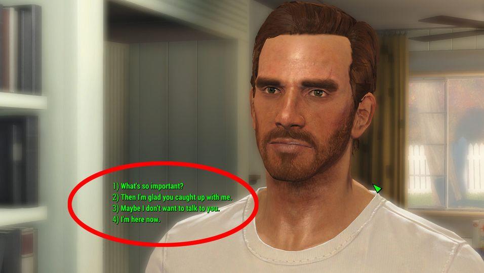 Lei av å bli misforstått i Fallout 4 på grunn av dialogsystemet?