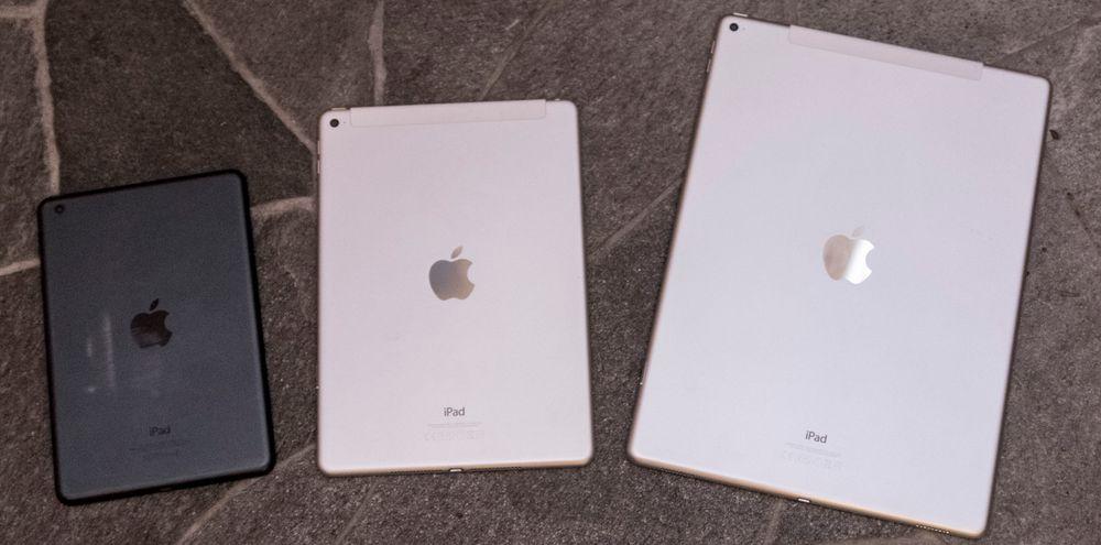 Apple leker med størrelser: Fra venstre, originale iPad Mini, iPad Air 2 og iPad Pro. Mini får stadig mindre betydningsfulle oppdateringer om dagen.