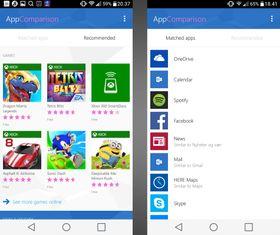 Her valgte vi kategoriene Spill og Vær & Nyheter, og fikk følgende sammenlignede apper (til høyre) og anbefalte apper (til venstre).