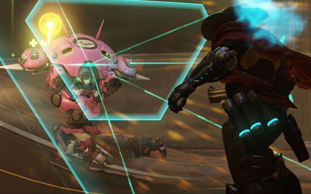 En av de tre nyeste heltene, D.Va., bruker skjold for å absorbere skade.