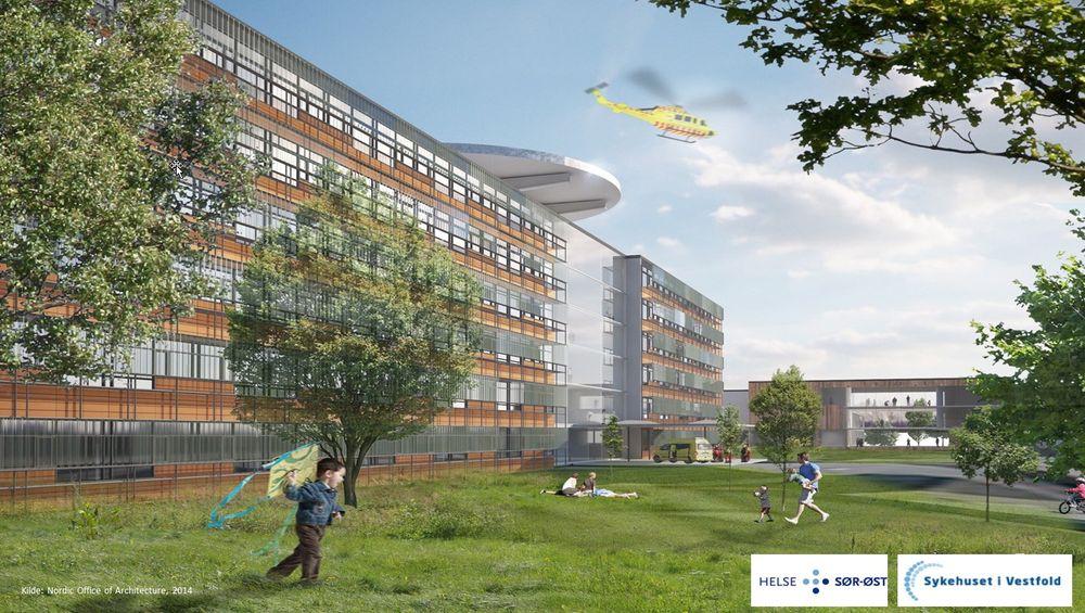 Sykehuset i Vestfold skal bygges på halve tiden av det som er normalt.