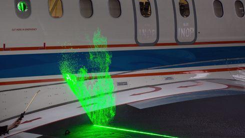 Her «vindtunnel-testes» en A320 i lufta med laser