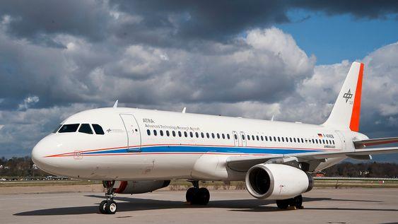 Dette er det tyske luft- og romfartssenterets testfly Atra - et ombygd Airbus A320.