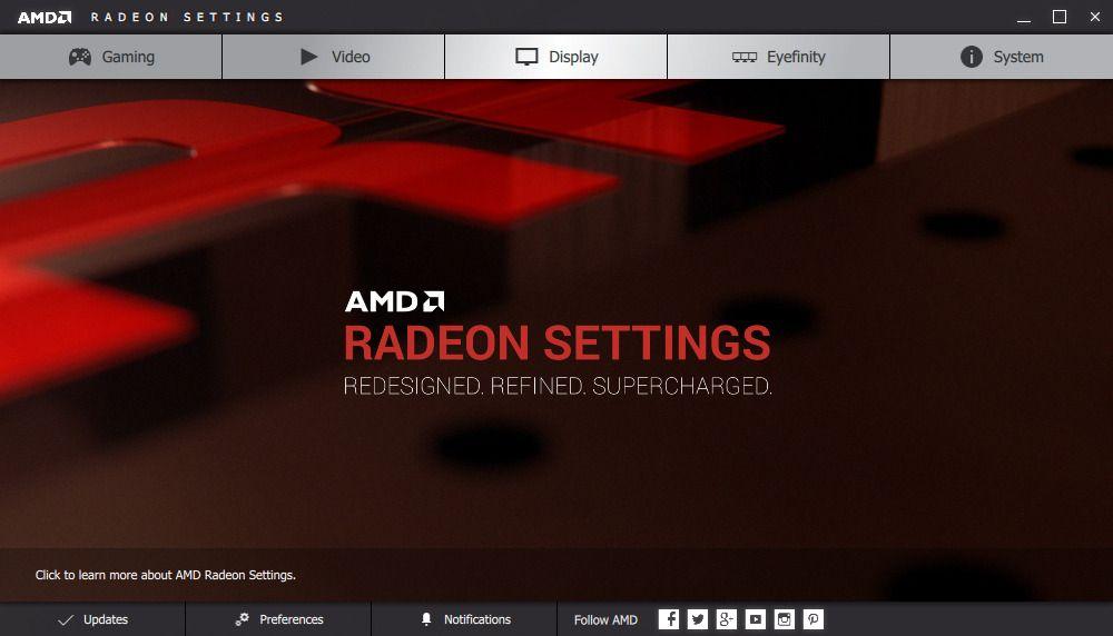 Nye Radeon Settings ser moderne og innbydende ut.