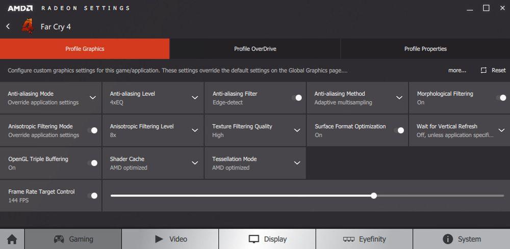 Inne på profilen til et spill kan du blant annet endre grafikkdetaljer og sette en FPS-sperre som sparer deg både strømkroner muligens også utgifter til hørselvern om grafikkortet jobber unødvendig hardt.