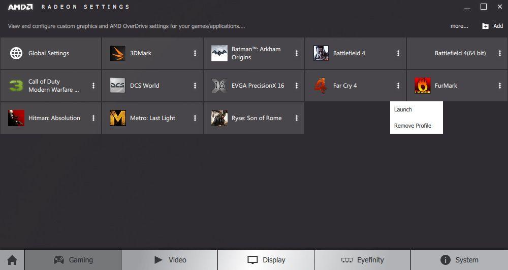 Med profiler kan du stille inn grafikkdetaljer og eventuellt overklokke på per spill-basis. Neimen ikke dumt!