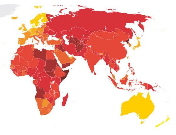 Jo mørkere rødfarge, jo mer korrupsjon. Telenor har satset store beløp i noen av verdens mest korrupte land.