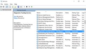 """""""Diagnostic Tracking Service"""" sporer mye av Windows-aktiviteten din, og må antakelig deaktiveres på nytt etter navneskifte."""