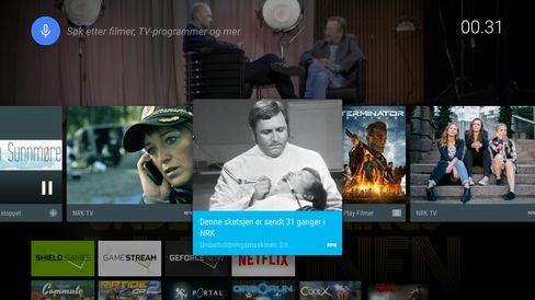 Android på TV er i hovedsak Googles design. Her ser vi også at NRK-appen dytter ut lenker direkte til interessant innhold.