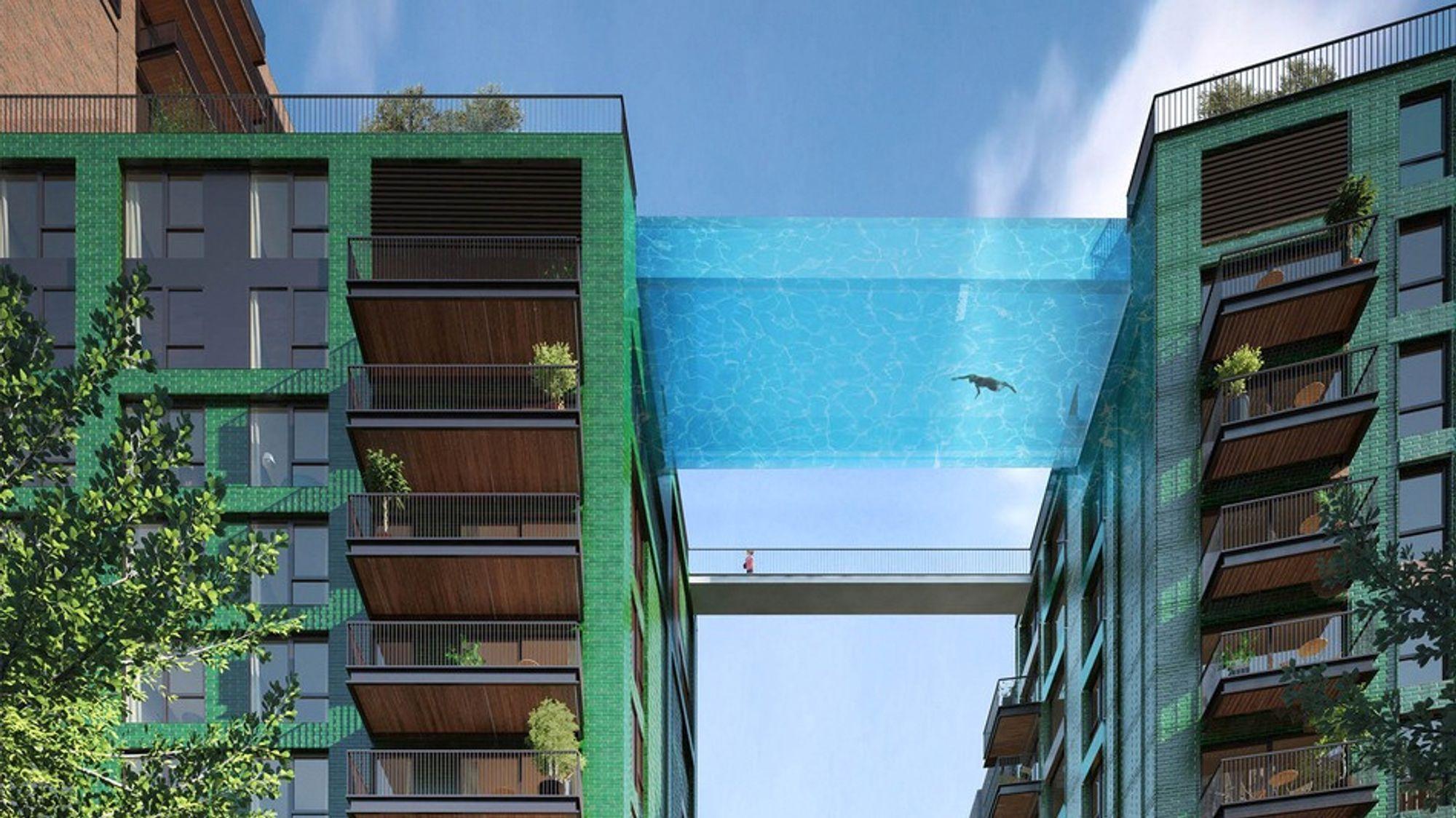 Bassenget skal bygges 35 meter over bakken mellom to høyhus.