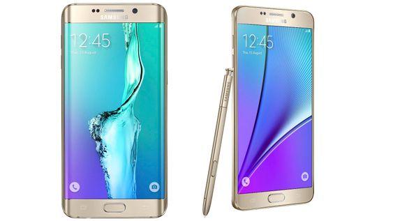 Galaxy S6 Edge+ til venstre, og Note 5 til høyre.
