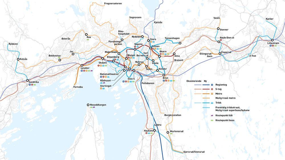 Oslo må ha hyppigere avganger, tre nye tunneler, nye trikkelinjer og lokale og regionale knutepunkt, konkluderer Jernbaneverket, Statens Vegvesen og Ruter.
