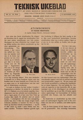 Teknisk Ukeblad fra høsten 1945 viser hva ekspertene tenkte om atombomben.