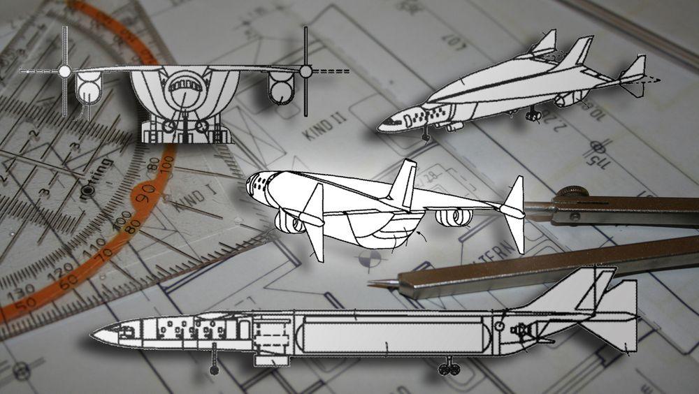 Ifølge patentsøknaden til Airbus skal flyet nå hastigheter opptil Mach 4,5. Her er tegninger av flyet fra søkanden.