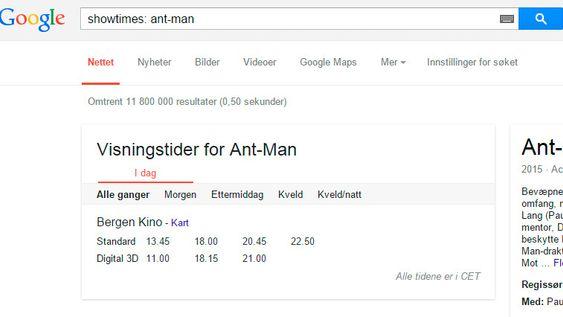 Vil du på kino, finner du tidene rett i Google.