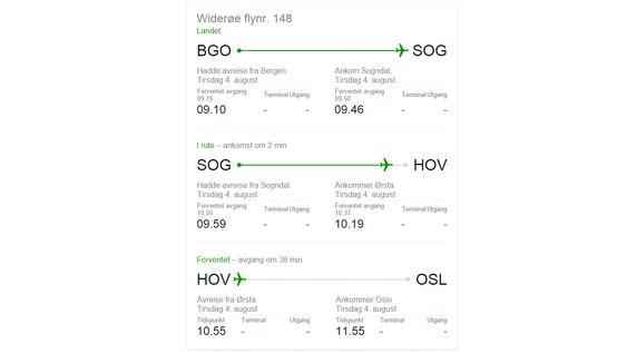 Flytider finner du enkelt om du vet flightnummeret.