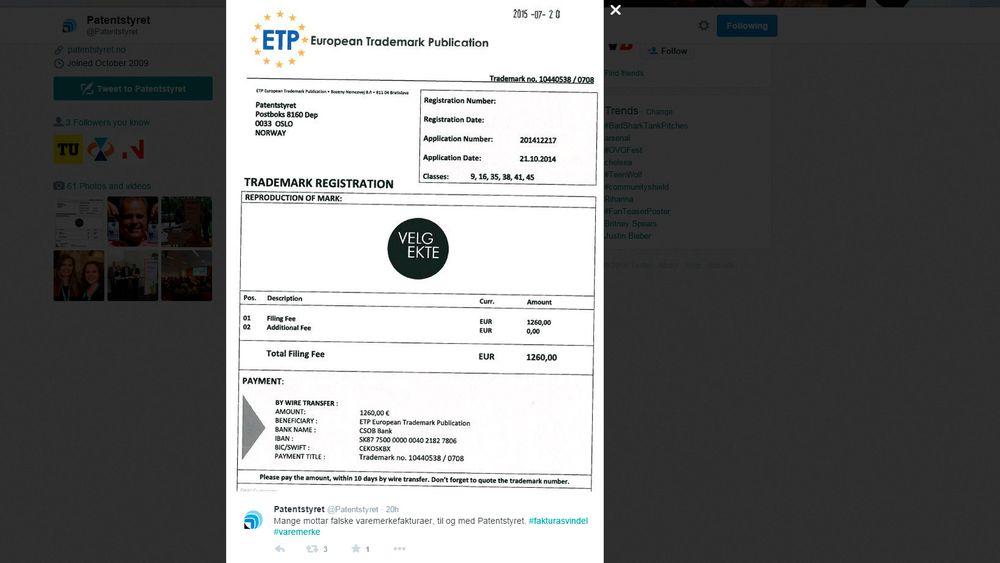 """Patentstyret har mottatt en mistenkelig regning for sitt eget varemerke """"Velg Ekte""""."""