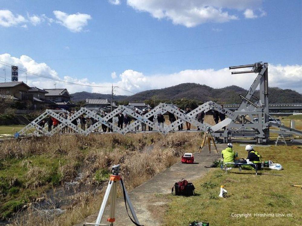 Mobile Bridge 4,0 ble testet ut over Hongo river i byen Fukuyama tidligere i sommer.